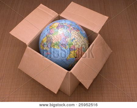 The World Globe In A Cardboard Box