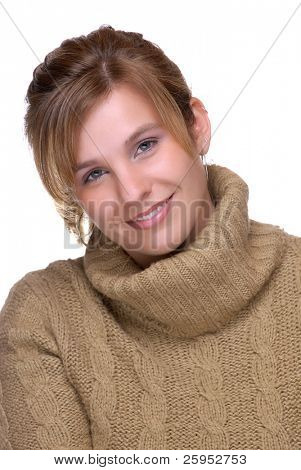 Pretty Young Woman Wearing A Woolen Sweater