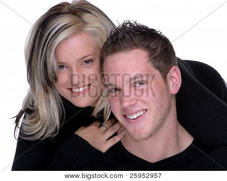 A Happy Young Couple In Love Smiling, Horizontal Framing Also Available Vertical Framing