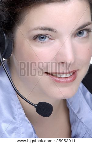 Call CenterSales Agent Wearing A Headset, With Blue Eyes