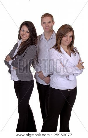 Group Of Three Young Business People, Isolated Over White