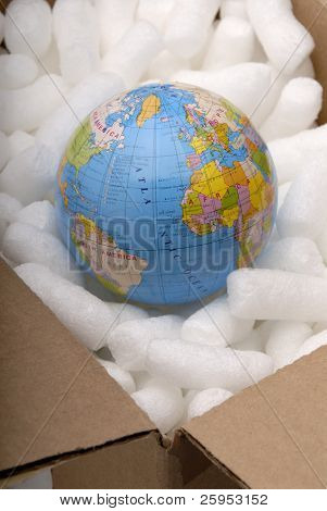 Globe In A Cardboard Box With Protective Packaging, Concept For Fragile Environment