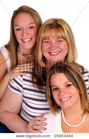 Blond Mother With Her Two Teenage Daughters, Isolated Over White
