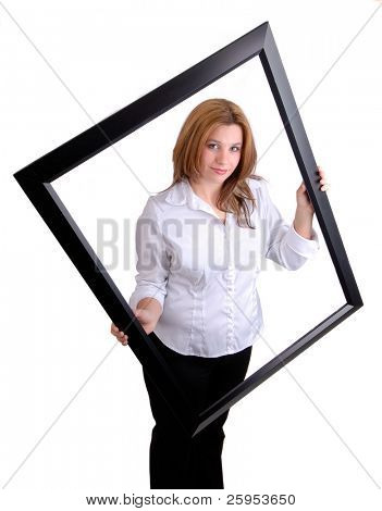 Young Woman Holding A Black Picture Frame, Isolated Over White