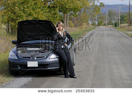 geschäftsfrau saß auf ihr Auto an der Seite der Straße, um Hilfe zu rufen aufgeschlüsselt