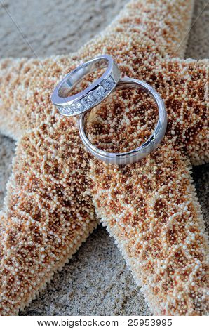 Starfish On A Caribbean Beach With Two Silver Wedding Rings