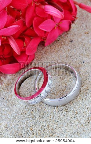 His And Hers Wedding Rings In The Sand With Red Flowers