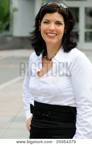 Smartly Dressed Businesswoman Outside Her Office
