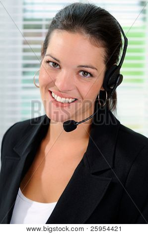 Beautiful Call Center Woman Wearing A Telephone Headset