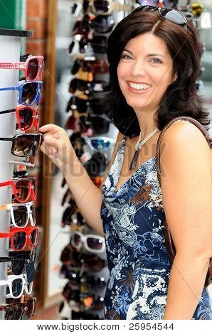 Beautiful Woman Shopping For Cheap Sunglasses