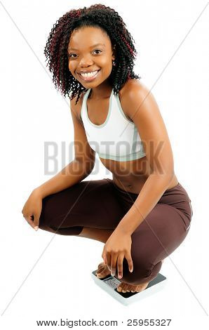African American Woman Dressed For Fitness Weighing Herself On Bathroom Scales