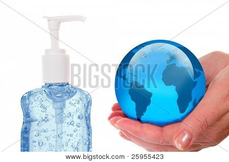 Woman Holding A Globe With A Bottle Of Hand Sanitizer, Concept For Swine Flue H1-N1