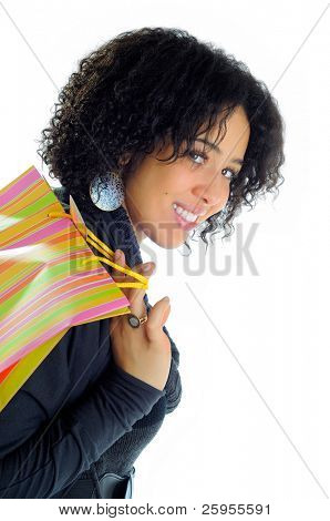 Beautiful Young Woman Holding A Shopping Bag Over her Shoulder