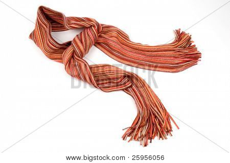 Multicolor wool scarf over white background
