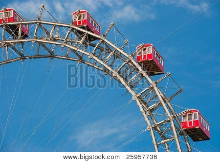 Fragment of Prater - giant old ferris wheel in Vienna, Austria.