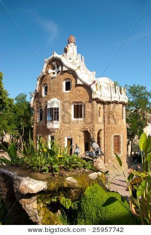 BARCELONA, SPAIN - AUGUST 26: The famous Park Guell on August 26, 2010 in Barcelona, Spain. The impressive and famous park was designed by Antoni Gaudi.