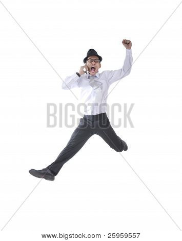 Businessman On The Phone Jumping