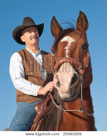 Horse with a rider in a cowboy hat against clear blue skies, focus on horse's eyes