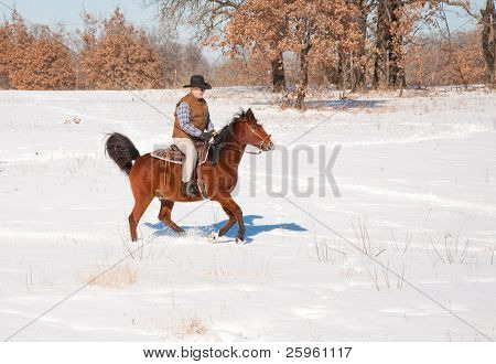 Man riding a horse in snow on a sunny winter day