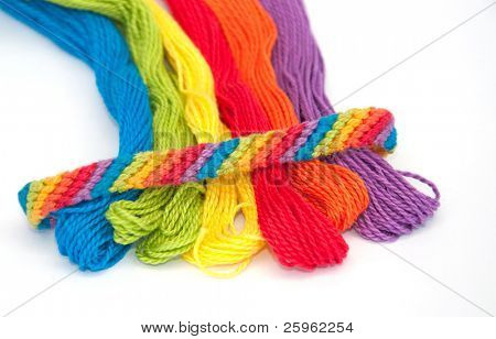Colorful yarn for making wristbands for children, with one ready made shown