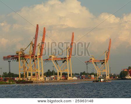 Container harbor in Riga