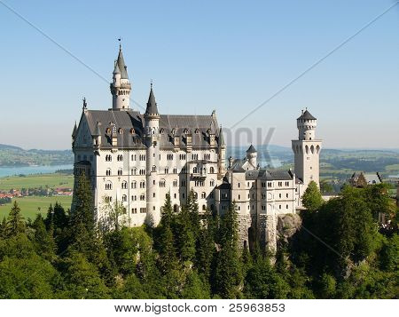"Neuschwanstein Castle in Germany, built by/for ""crazy"" King Ludwig II, which inspired the 'Sleeping Beauty' image of castles. It was Walt Disney's inspiration for Cinderella's castle"