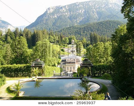 Garden by castle in Linderhof, Bavaria, Germany