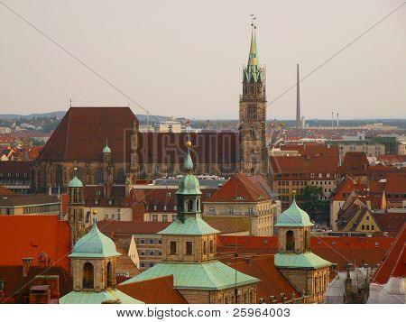 Aerial view of  Nuernberg roofs