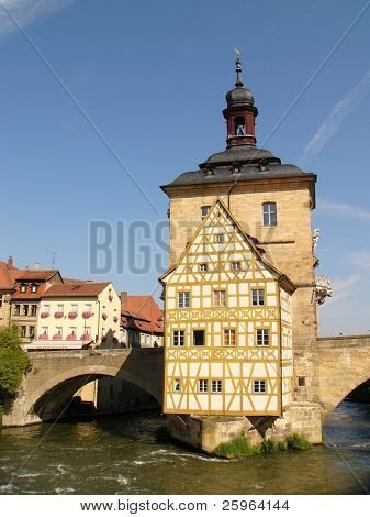 Old City Hall for Bamberg on a Bridge over the River Regnitz, Bavaria, Germany.