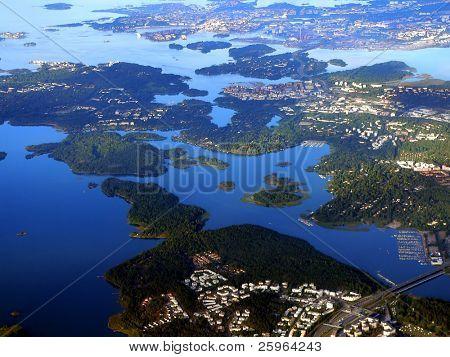 Aerial view of Helinki archipelago, Finland, Europe