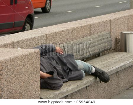 Homeless sleep on the street
