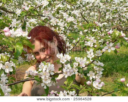 Enigmatic girl in apple garden
