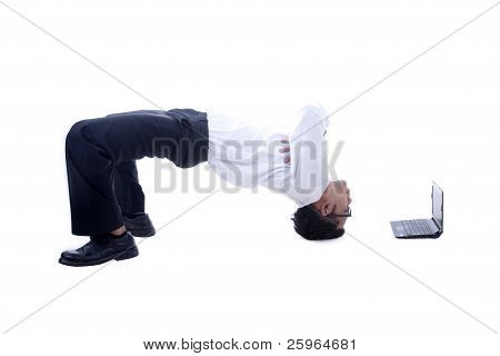 Acrobatic Asian Businessman