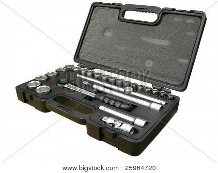 Professional tool box on isolated background