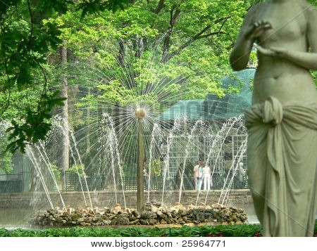 Fountain In Petrodvorets (Peterhof), St Petersburg, Russia.