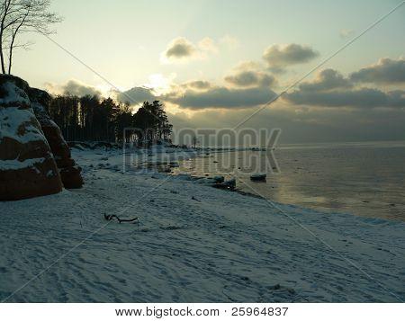 Baltic sea winter sunset