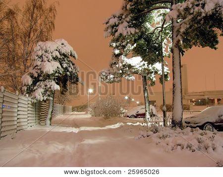 Winter night in Helsinki, Finland, Europe