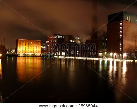 Night, river and manufactory in Tampere, Finland, Europe