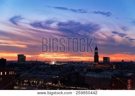 Hamburg At Sunset Scene With
