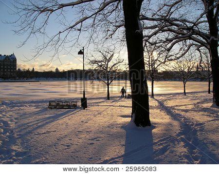 Winter sunset in Helsinki