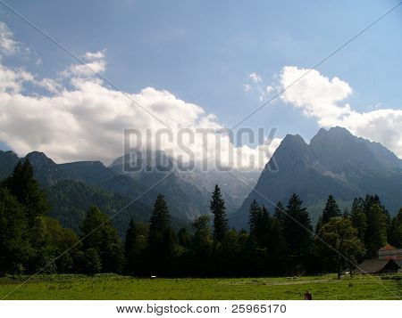 Germany's highest mountain Zugspitze. View from Garmisch - Partenkirhen