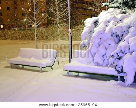 A bench covered with snow in night