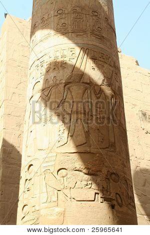 Amon-Re at column in the Temple of Amon-Re, Karnak, Luxor, Egypt