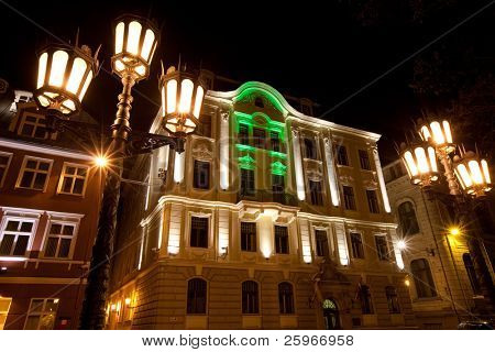 Beautiful night in downtown of Riga, Latvia, Baltic states