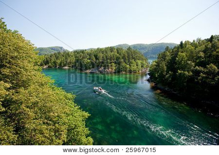 Amazing landscape of norwegian nature with river and small boat