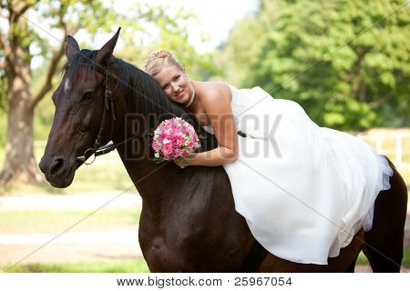 Bride with horse, romantical photo