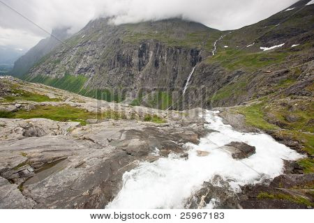 Viewpoint in Trollstigen (Troll Path) - one of the moust beautiful mountain rouds in Rauma, Norway