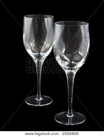 Two Crystal Wine Glasses On Dark Background