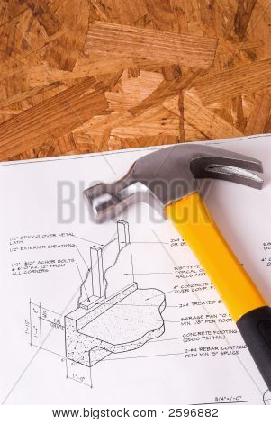 Carpenter'S Hammer Atop Blueprints