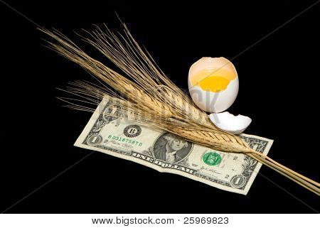 Wheat ears, egg and one dollar on a black background